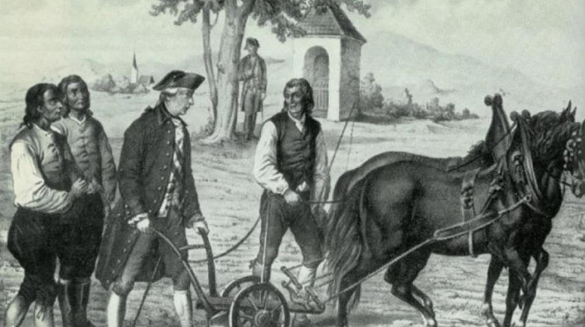 Když se Josef II. pohyboval se svým skromným vozem na Vyškovsku, u obce Slavíkovice musel kvůli defektu zastavit. Zatímco jeho doprovod dával vůz do pořádku, Josef si všiml oráče na poli. Se zájmem šel za ním a osobně si vyzkoušel orání s pluhem.