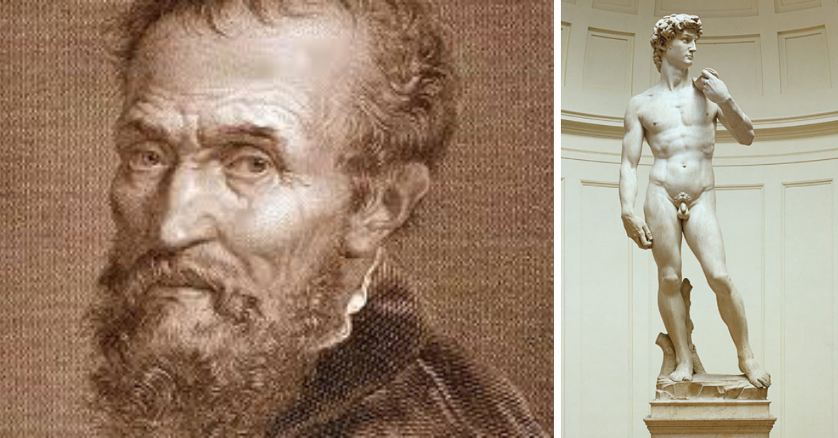 Michelangelo Buonarotti (autor sochy Davida) byl taky homosexuální, ale svou orientací trpěl a nikdy se s ní nesmířil. Na rozdíl od Leonarda.