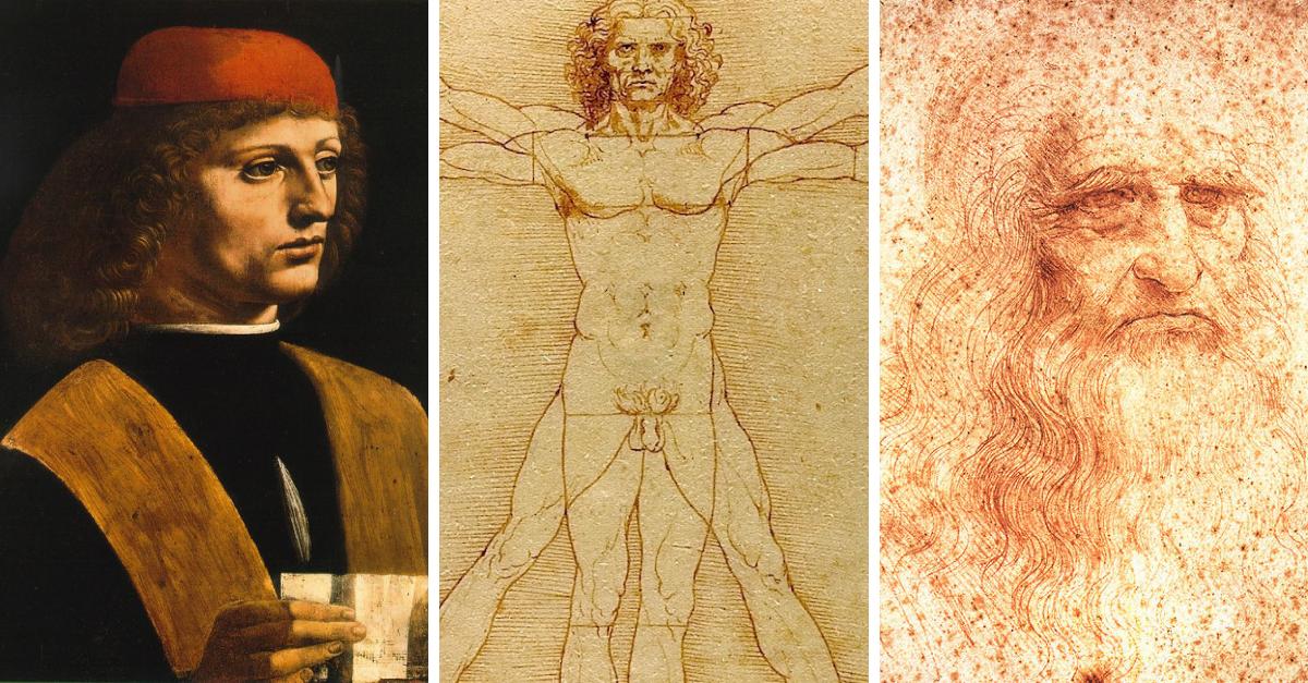 Tři Leonardova díla, u kterých se předpokládá, že je na nich on sám: Portrét hudebníka, Vitruviánský muž a Autoportrét. Autoportrét vznikl podle odrazu v zrcadle, když bylo Leonardovi 60 let.