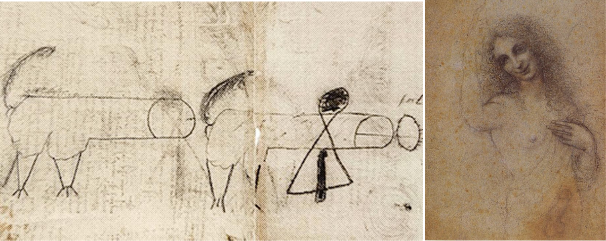 """I tyhle kresby se našly v Leonardově náčrtníku. Neví se přesně, jestli je kreslil on sám nebo byl autorem Salai. Dva chodící penisy míří přímo do kroužku vpravo, který má znázorňovat Salaiův anální otvor (je tak popsán). Vpravo je jedna z """"předloh"""" pro obraz Svatého Jana Křtitele, ke kterému stál modelem právě Salai."""